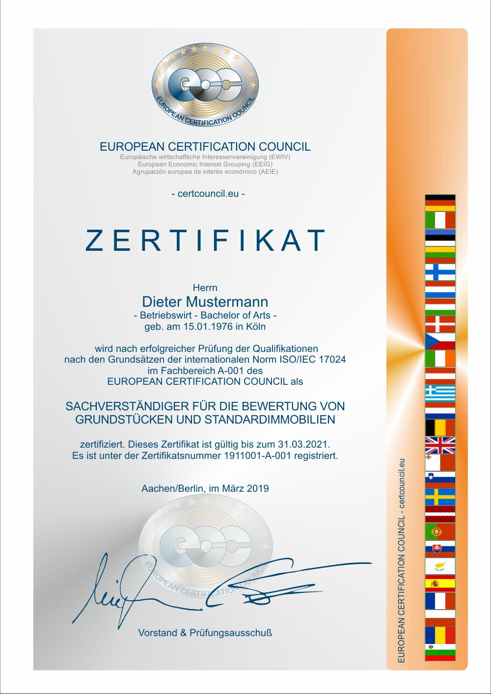 Zertifikat EUROPEAN CERTIFICATION COUNCIL